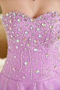 Beaded Bodice Puffy Floor Length Lilac Princess Quinceanera Dress
