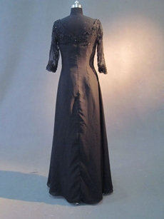Elegance Black Queen Anne 3/4 Lace Sleeves Mother of Bride Dress