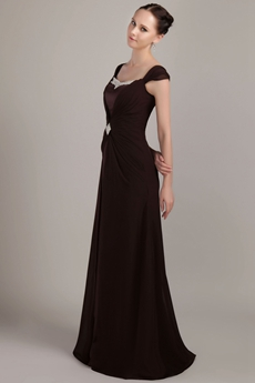 Double Straps A-line Full Length Brown Chiffon Mother Of The Bride Dress