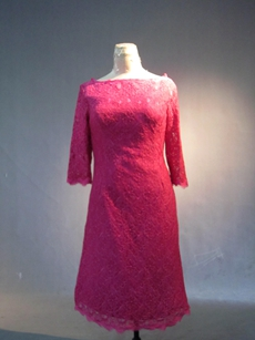 Fuchsia 3/4 Sleeves Lace Knee Length Mother of Groom Dress