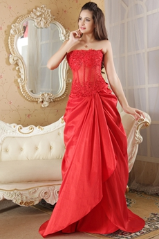 Strapless A-Line Full Length Red Taffeta Prom Dress