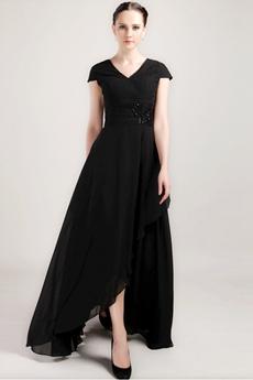 V-Neckline Cap Sleeves Black Chiffon Mother Dress Asymmetrical Hem
