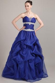 Svelte Ball Gown Full Length Royal Blue Organza Quinceanera Dress