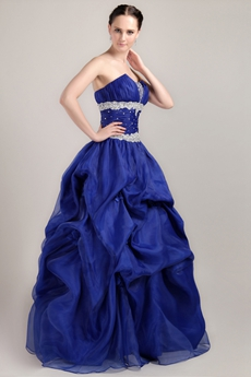 Svelte Ball Gown Full Length Royal Blue Organza Quinceanera Dress