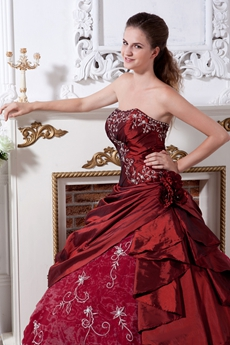 Embroidered Burgundy Quinceanera Dress Corset Back