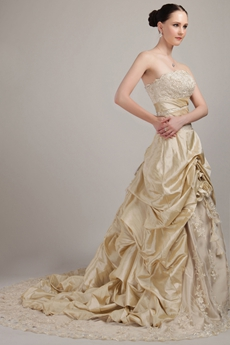 Retro Champagne Lace Wedding Dress