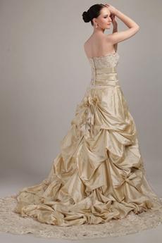 Retro Champagne Lace Wedding Dress
