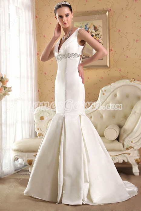 Cut Out Satin V-Neckline Mermaid Wedding Dress