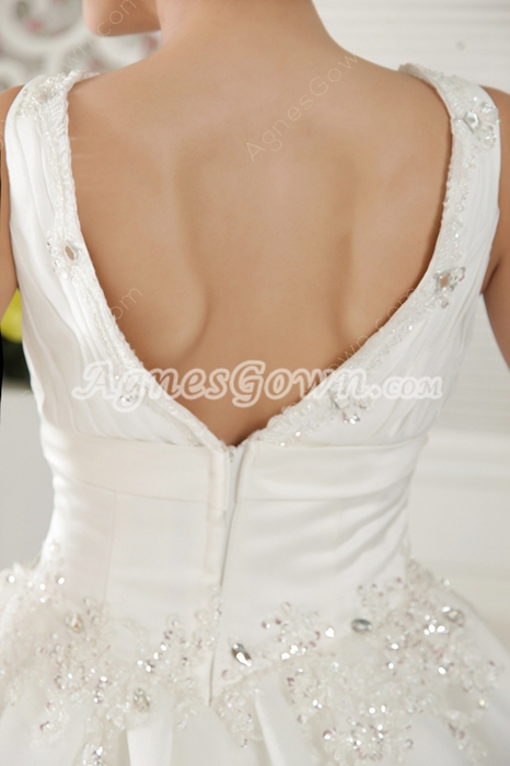 V-Back Ball Gown Full Length Tulle Wedding Dress For Full Figure