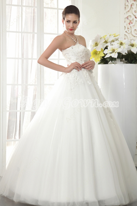 Dipped Neckline Ball Gown Full Length Wedding Dress With Lace Appliques