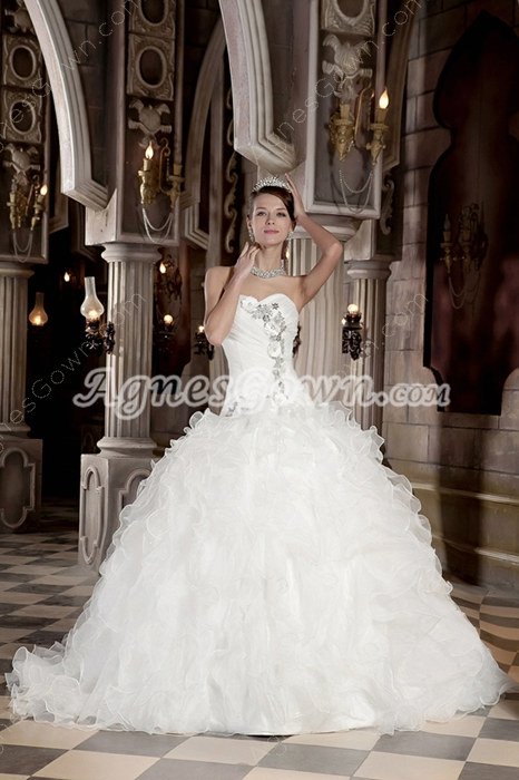 Dipped Neckline Puffy Ball Gown Wedding Dress