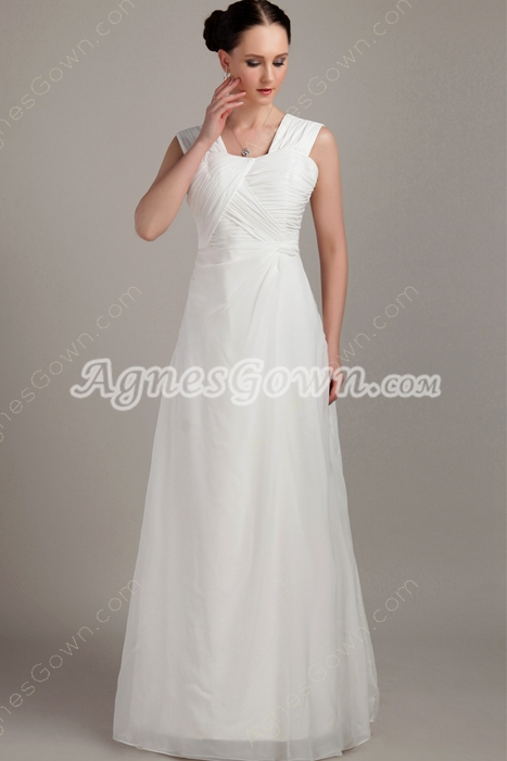 Column Floor Length White Chiffon Beach Wedding Dress