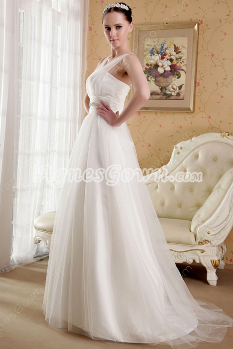 Ivory Rulle Straps Puffy Full Length Plus Size Wedding Dress