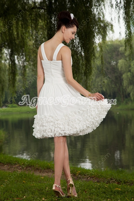 Straps Mini Length White Chiffon Homecoming Dress
