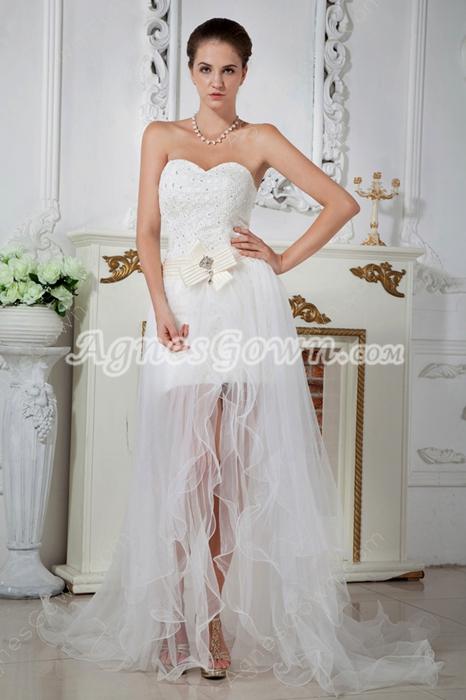 Unique Short Beach Wedding Dress with Detachable Train for Summer