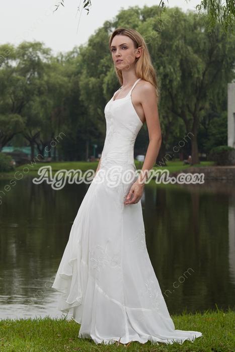 Hawaii Halter Full Length Ivory Chiffon Embroidery Beach Wedding Dress