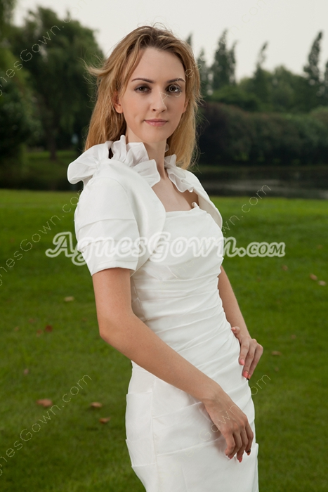 Chic Strapless Sheath Mini Length White Wedding Guest Dress