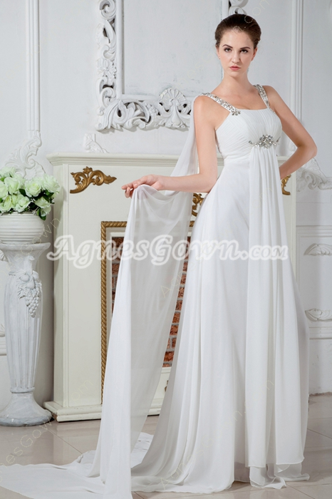 Glamour Straps Column Floor Length Ivory Chiffon Beach Wedding Dress