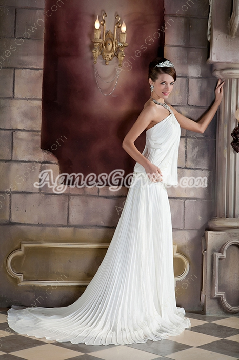 Chiffon One Shoulder Full Length Casual Beach Wedding Dress