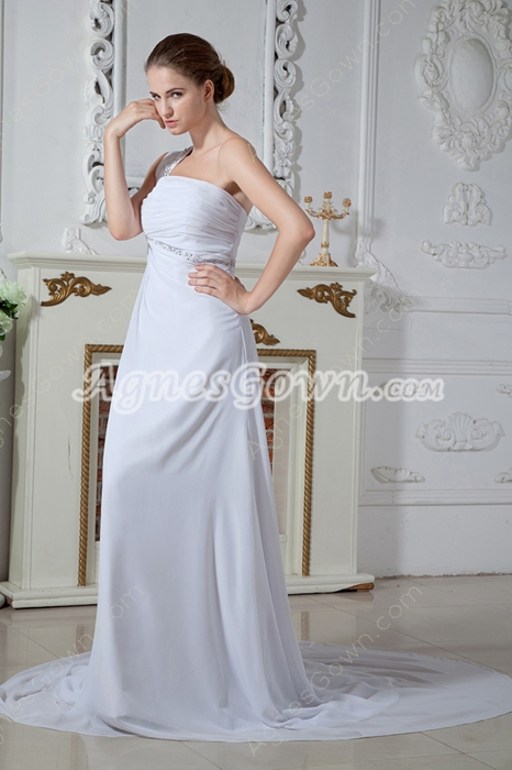 Green One Shoulder Empire Chiffon Maternity Wedding Dress