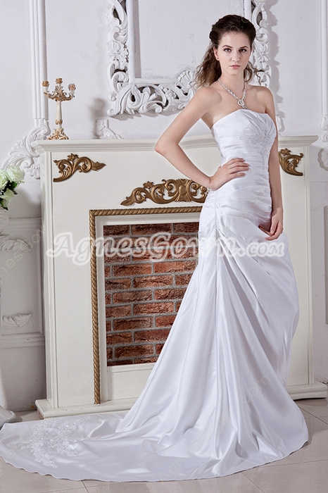 Simple A-line Satin Wedding Gown Corset Back