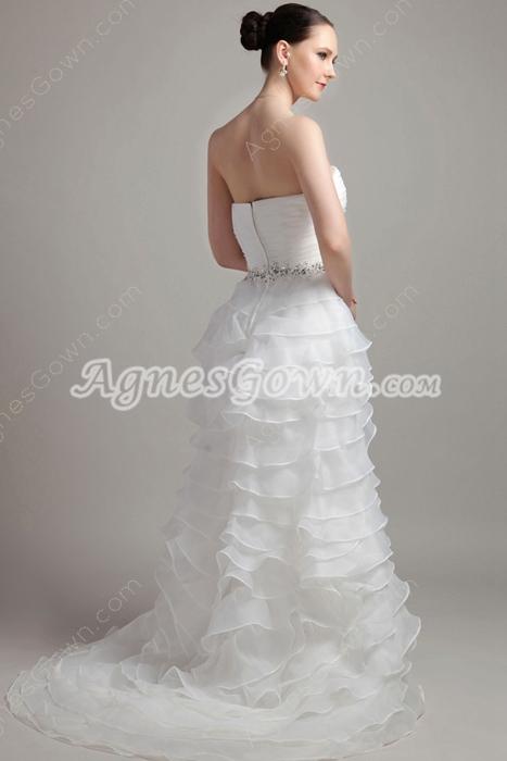 Multi Tiered White Organza Wedding Dress