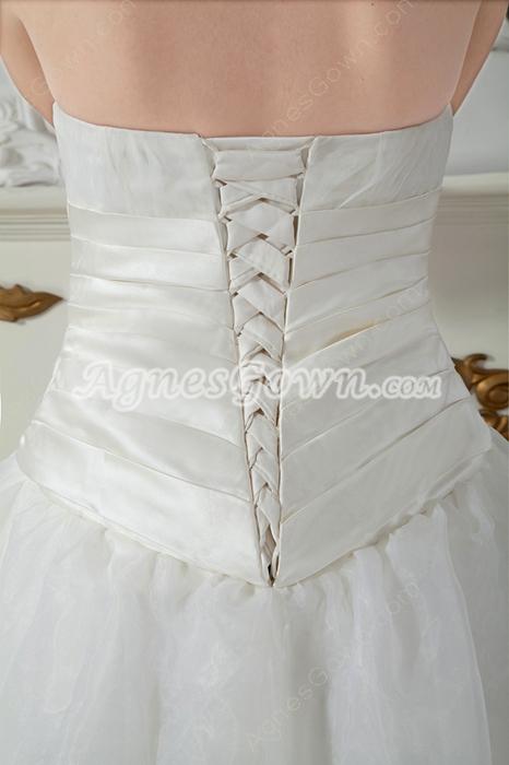 Modest Ivory Organza Full Length Princess Wedding Dress