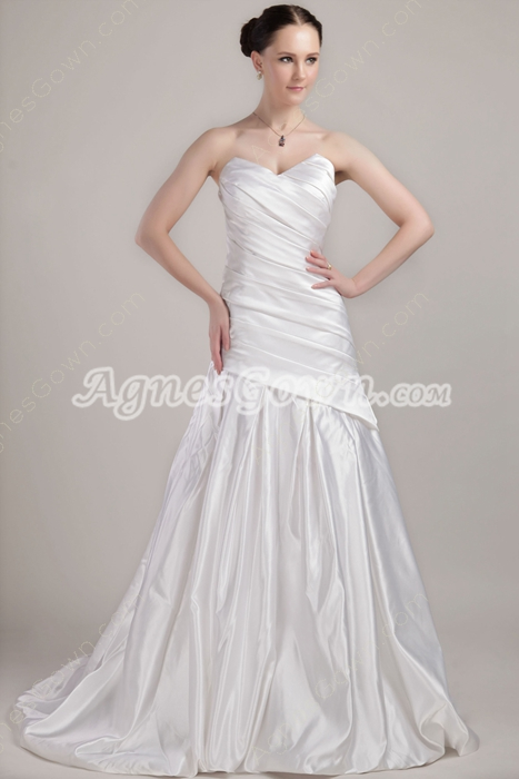 Asymmetrical Waist Satin Formal Mermaid Wedding Dress