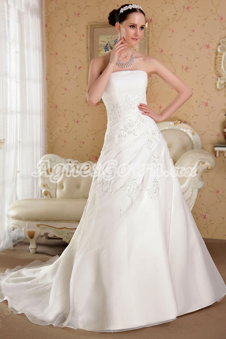 Noble A-line Full Length Organza Plus Size Wedding Dress