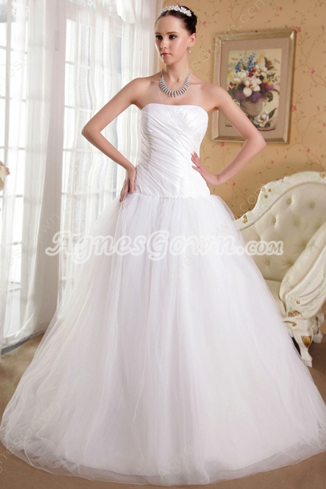 Dropped Waist Puffy Floor Length Tulle Wedding Dress Plus Size