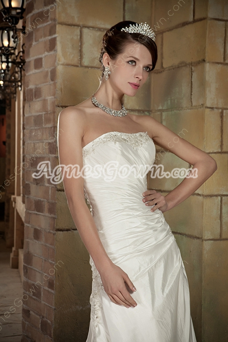 Simple A-line Full Length Wedding Dress Lace Up Back