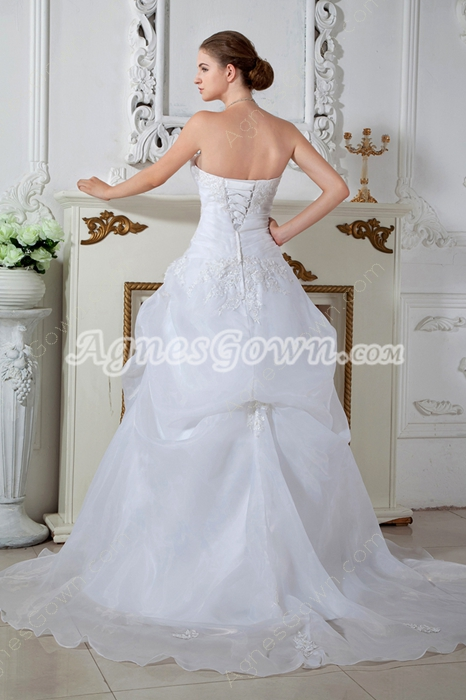 White Organza Puffy Floor Length Princess Wedding Dress Plus Size