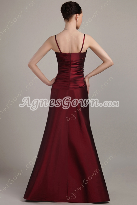 Spaghetti Straps A-line Long Burgundy Prom Dress With Jewels