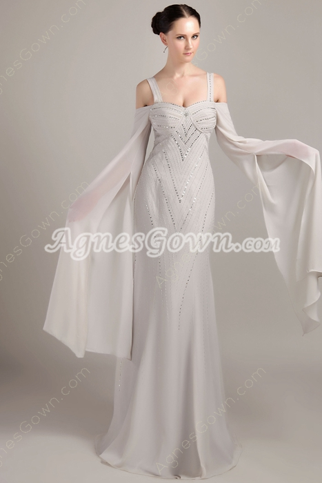 Off The Shoulder Long Sleeves Gray Chiffon Celebrity Evening Dress