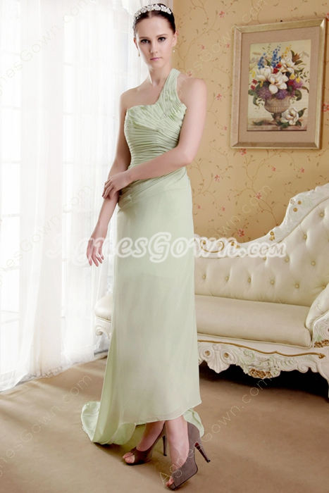 Sage Chiffon One Shoulder Asymmetrical Hem Prom Dress