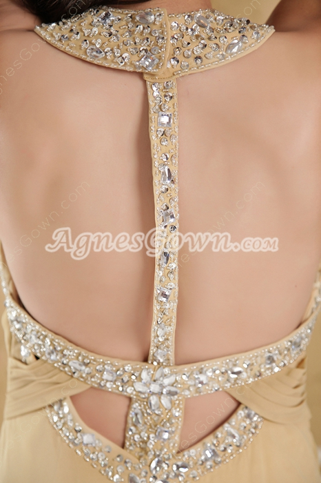 Cut Out Jewel Neckline Champagne Long Prom Dress