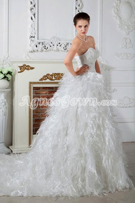 Luxury Feather 2016 Celebrity Wedding Dress