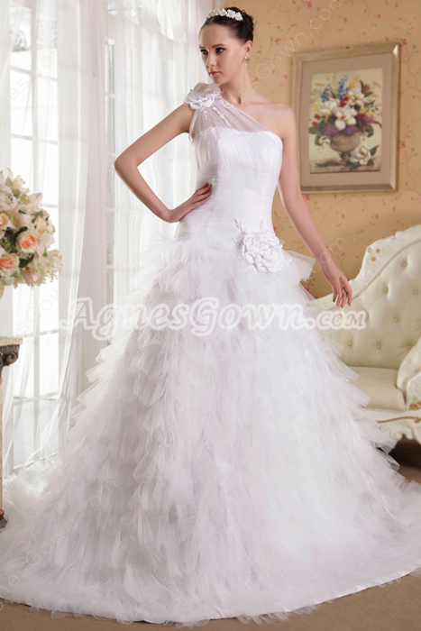 Couture One Shoulder Puffy Tulle Wedding Dress With Layered