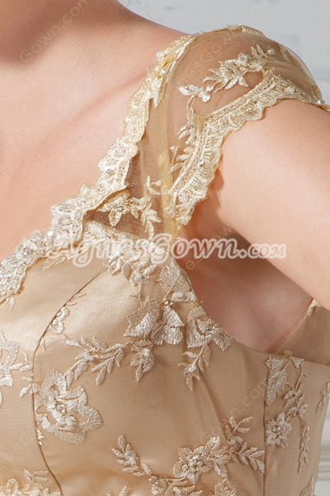 Plunge Neckline Cap Sleeves Sheath Champagne Lace Wedding Dress
