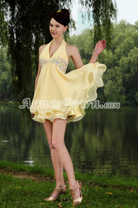 Top Halter Chiffon Yellow Graduation Dress