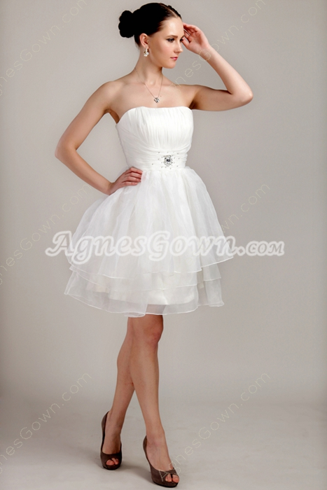 Puffy Mini Length White Organza Short Bridal Dress