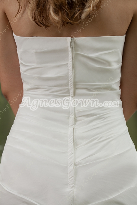 Sheath Mini Length Strapless Little White Cocktail Dress