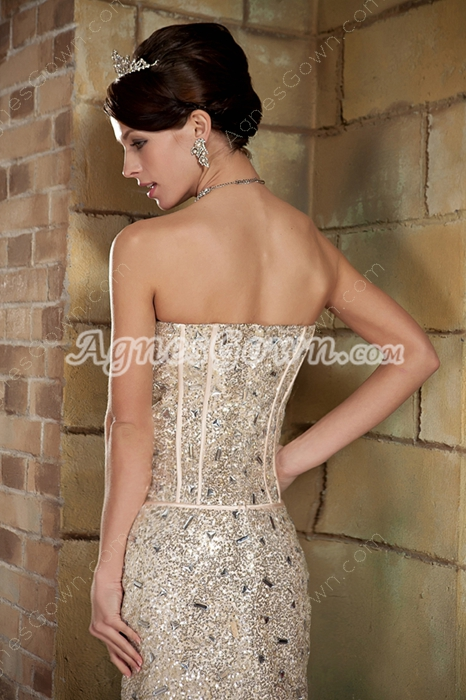 Heavy Beaded Sweetheart Champagne Cocktail Dress