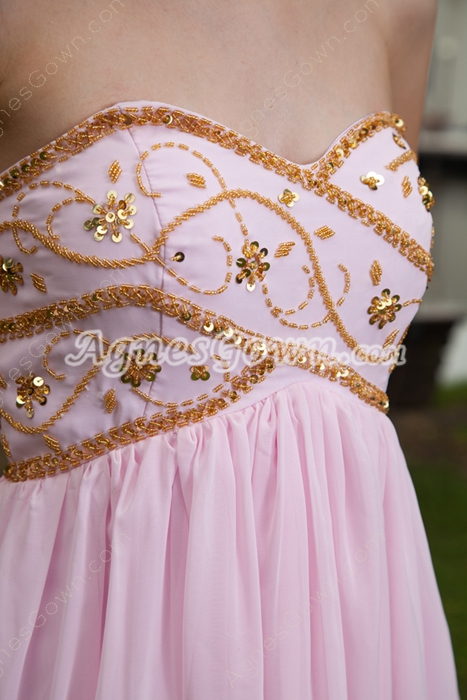 Embroidered Empire Full Length Pink Prom Dress