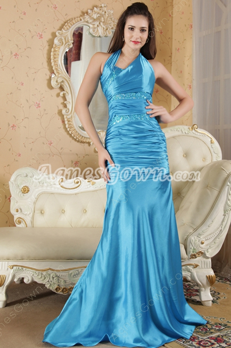Halter Cut Out A-line Full Length Turquoise Prom Dress