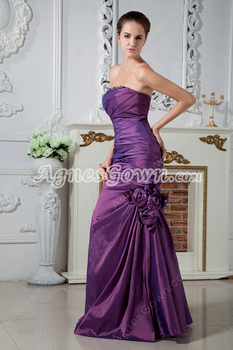 Glamour Strapless Sheath Purple Prom Dress