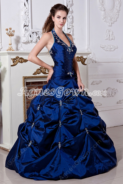 Top Halter Ball Gown Royal Blue Quinceanera Dress With Embroidery