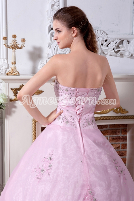 Embroidery Pink Organza Ball Gown Quinceanera Dress