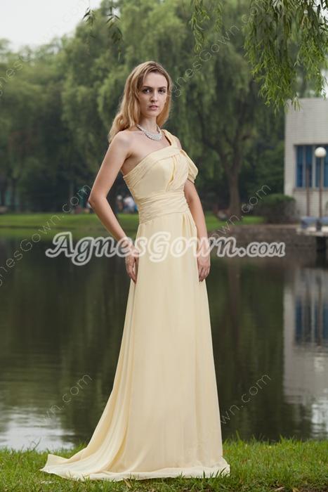 Noble One Shoulder A-line Full Length Yellow Evening Dress