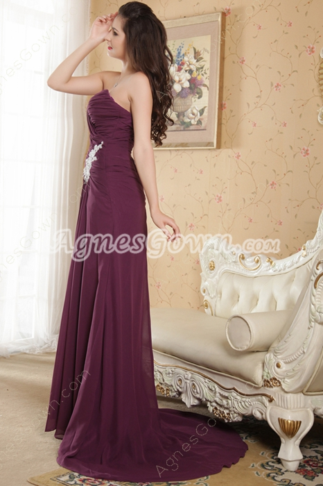 Front Slit Sweetheart Column Full Length Grape Color Prom Dress